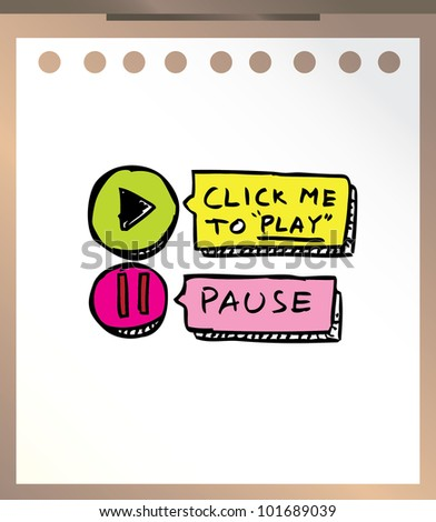 play and pause button hand drawn