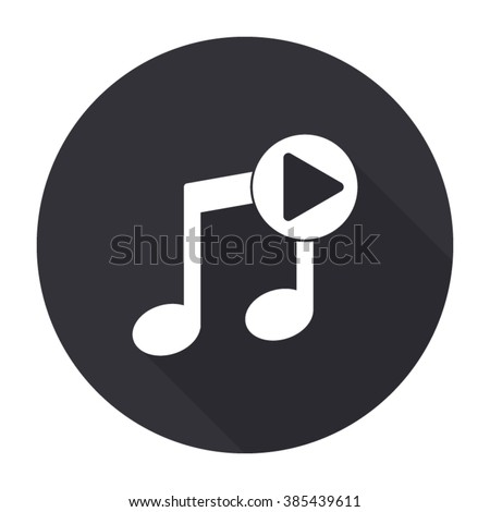 play audio icon with long shadow - vector round button - stock vector
