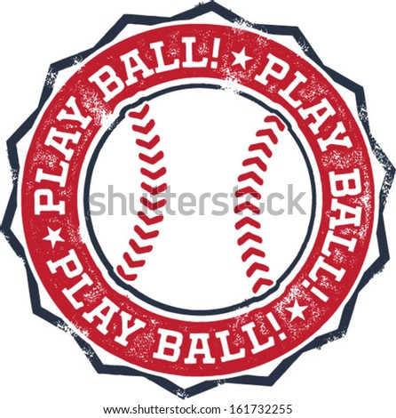 Play Ball! Baseball or Softball Stamp - stock vector