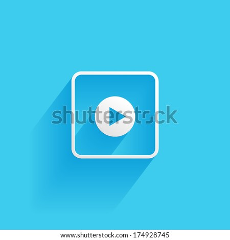 play, button, flat icon isolated on a blue background for your design, vector illustration - stock vector