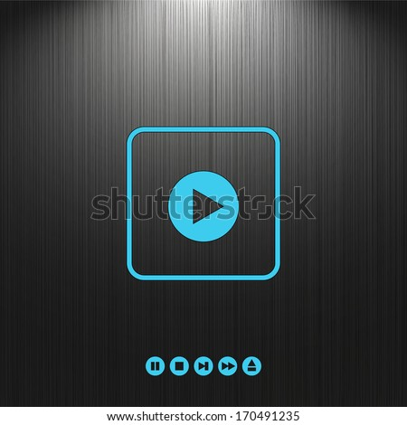 play, button, icon set on a dark background for your design - stock vector