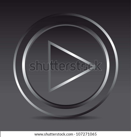 play button play with shadow, glass. vector illustration - stock vector