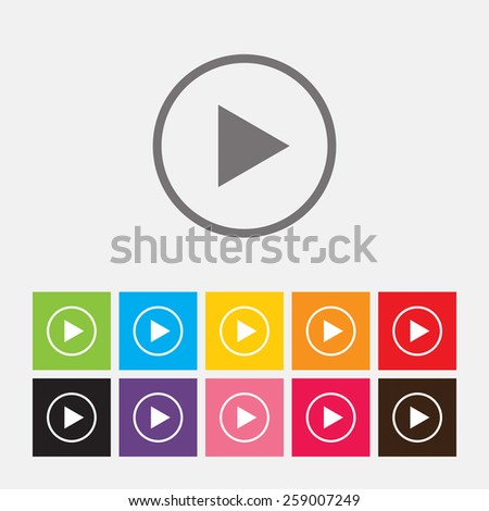 Play button web icon - Vector - stock vector