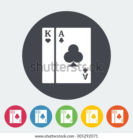 Play card. Single flat icon on the circle button. Vector illustration.