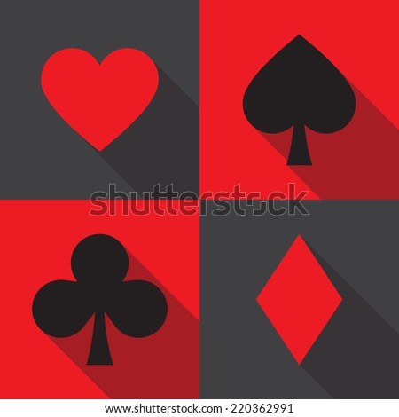 Play cards all symbols flat icon - stock vector