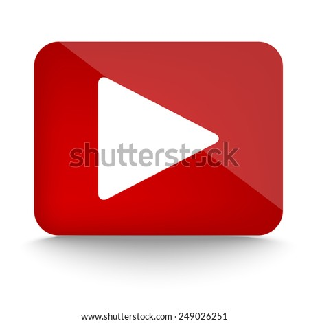 Play icon on red glossy button - stock vector