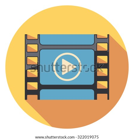 play movie flat icon in circle - stock vector