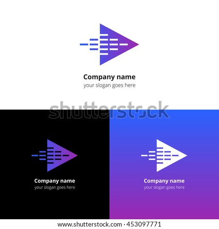 Play music sound  and equalizer beat fast motion flat logo icon vector template. Abstract symbol and button with blue-violet gradient for music service or company. - stock vector