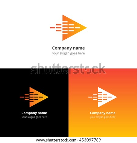 Play music sound and equalizer beat fast motion flat logo icon vector template. Abstract symbol and button with yellow-orange gradient for music service or company. - stock vector