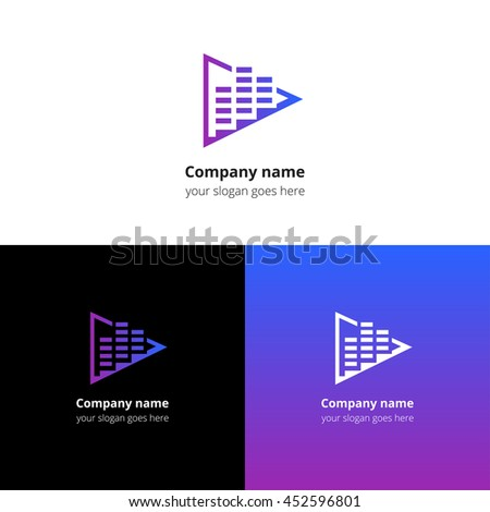 Play music sound and equalizer beat flat logo icon vector template. Abstract symbol and button with violet-blue gradient for music service or company. - stock vector