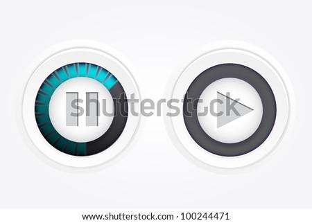 Play, pause button. Vector - stock vector