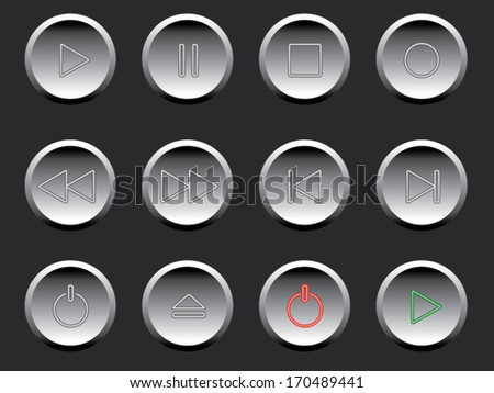 Play, pause, stop and other buttons. Vector illustration.