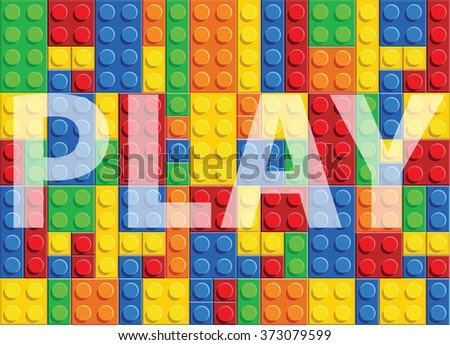 Play - seamless vector pattern of plastic parts - stock vector