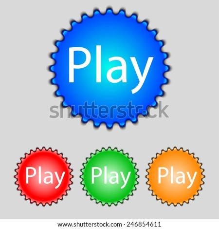 Play sign icon. symbol. Set of colored buttons. Vector illustration