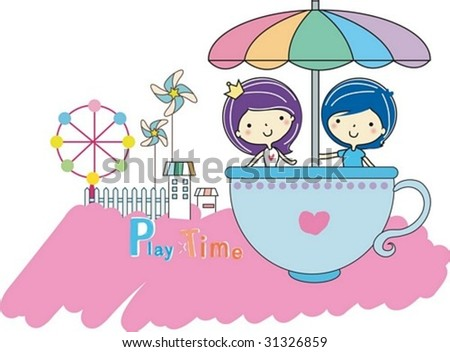 Play Time - enjoy exciting rides with cute young girl and boy in the amusement park on joyful holiday on white and pink background : vector illustration - stock vector