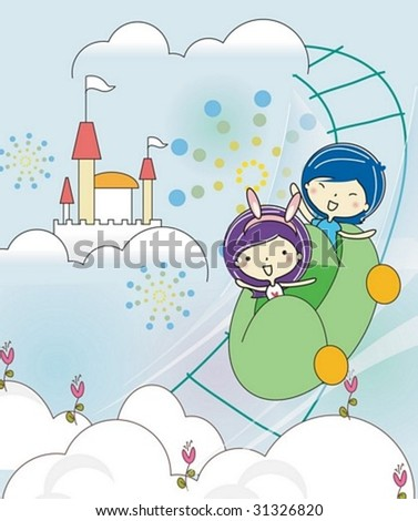 Play Time - enjoying exciting rides with cute young girl and boy in the amusement park on joyful holiday on sky blue background : vector illustration - stock vector