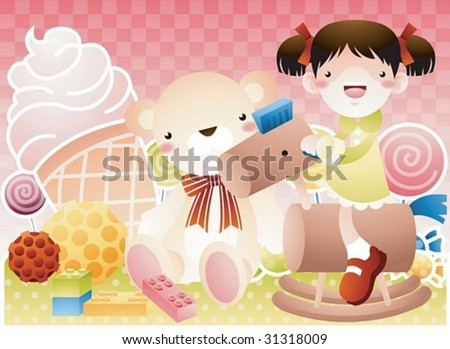 Play Time - enjoying the rides with a cute young girl in the playground on joyful holiday on background with pink check pattern : vector illustration - stock vector
