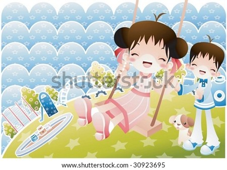 Play Time with Cute Friends - enjoy sitting in the swing with happy smiling children and adorable pet together in the playground on a background of lovely waves and stars pattern : vector illustration - stock vector
