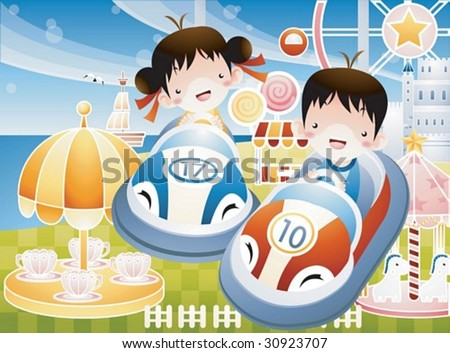Play Time with Joyful Children - enjoying pleasure park festival with happy smiling cute friends in the theme park on holiday on a background of blue sky and exciting many rides : vector illustration - stock vector