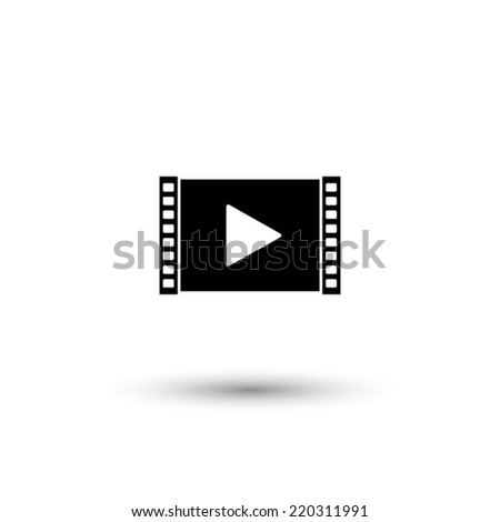 Play video icon - black vector illustration - stock vector