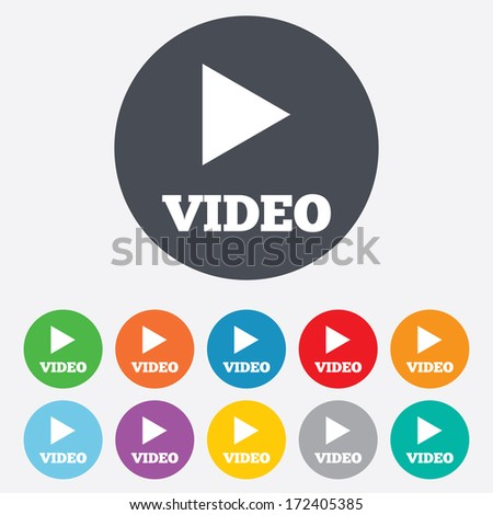 Play video sign icon. Player navigation symbol. Round colourful 11 buttons. Vector - stock vector