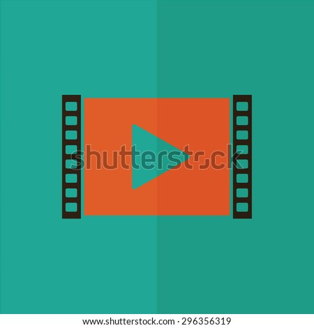 play video vector icon. Flat design - stock vector