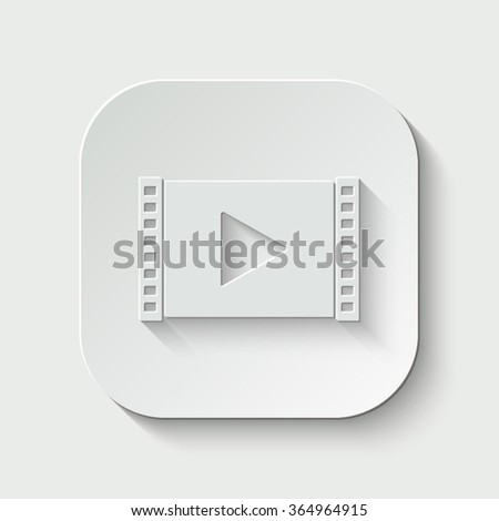 play video vector icon - paper illustration - stock vector