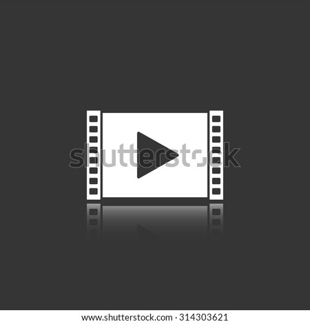 play video vector icon with mirror reflection - stock vector