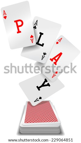 Play word aces poker hand fly up from red back playing cards deck