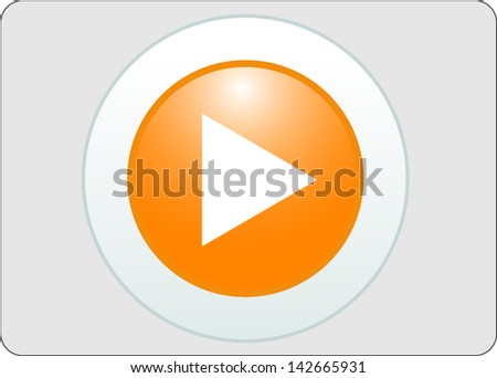 play yellow circle glossy web icon on grey background