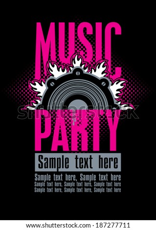 Playbill for the musical party with speaker - stock vector
