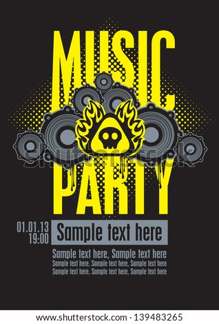 Playbill for the musical party with speakers and a skull - stock vector