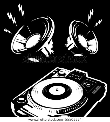 player and speakers vector illustration - stock vector