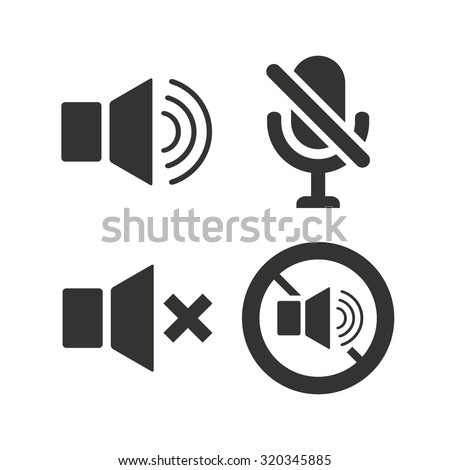 Player control icons. Sound, microphone and mute speaker signs. No sound symbol. Flat icons on white. Vector - stock vector