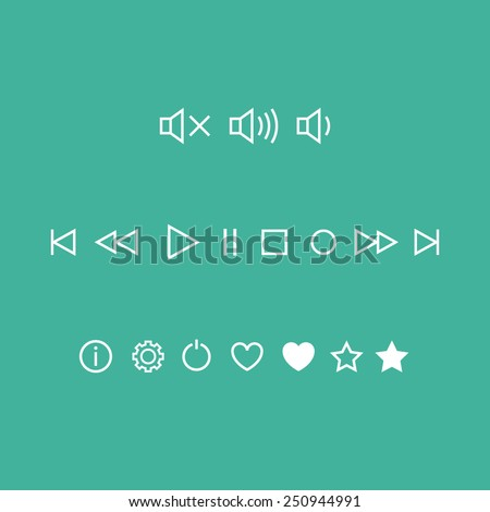 Player Linear Vector Icons - stock vector