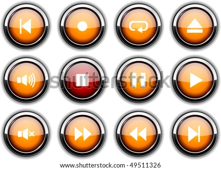 Player set of round glossy icons.