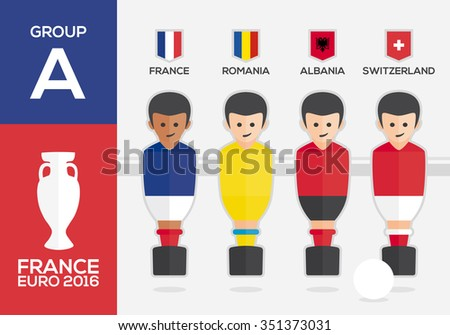 Players with flags of european countries participating GROUP A of Euro 2016 football championship in France - stock vector