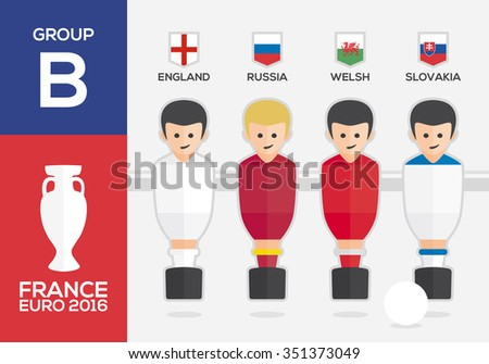 Players with flags of european countries participating GROUP B of Euro 2016 football championship in France - stock vector