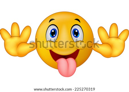 Playful emoticon smiley jokingly stuck out its tongue - stock vector