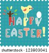 Playful Vector Lettering: Happy Easter./ Little bird - stock vector