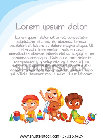 Playground. Colorful template for advertising brochure. Ready for your message. Children look up with interest. Kid pointing at a blank template. Funny cartoon character. Vector illustration - stock vector