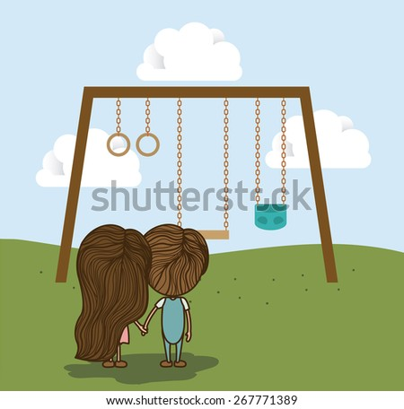 Playground design over landscape background, vector illustration - stock vector
