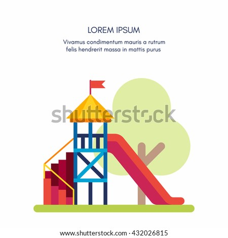 Playground for kids. Colored flat vector illustration isolated on white background with a place for text or comments on top  - stock vector