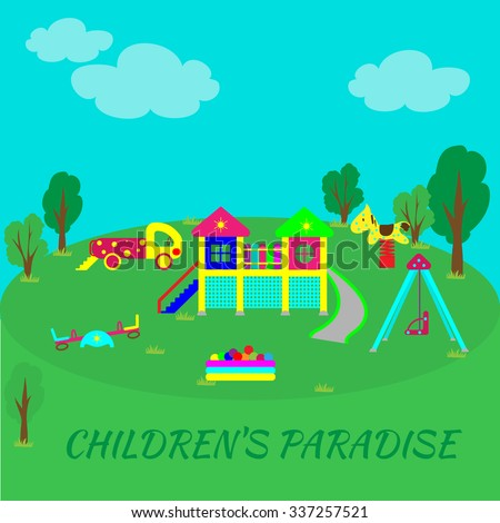 Playground into flat style. Recreational facilities for the child. Physical development of children through games and sports. - stock vector