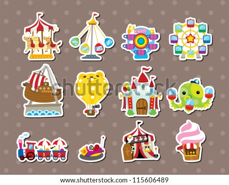 playground stickers - stock vector