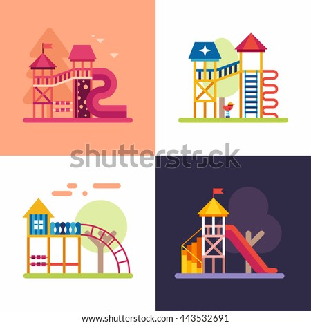Playgrounds for Kids. Set of four colored flat  vector illustrations - stock vector