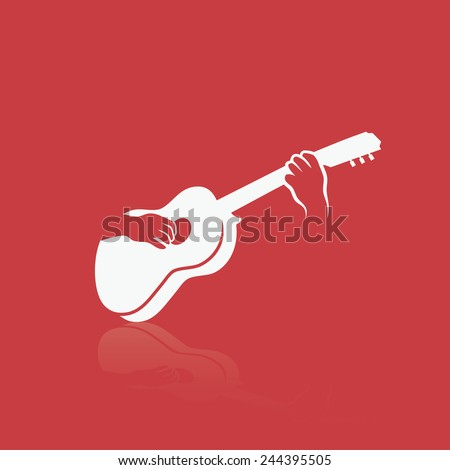 Playing a guitar - vector illustration - stock vector