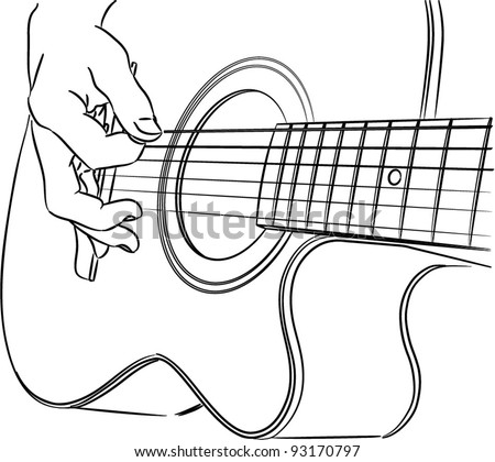 Playing acoustic guitar - vector outline - stock vector