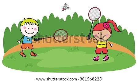 Playing badminton kids - stock vector