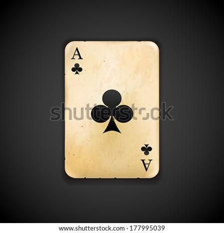 Playing card - Ace of clubs vector - stock vector